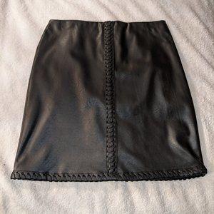 INC Vegan Black Leather Mini Skirt